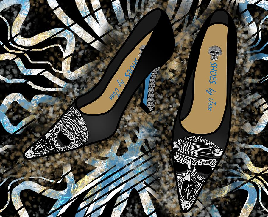 Fashion Drawing - Shoes By Joan Skull Black Pumps by Joan Stratton