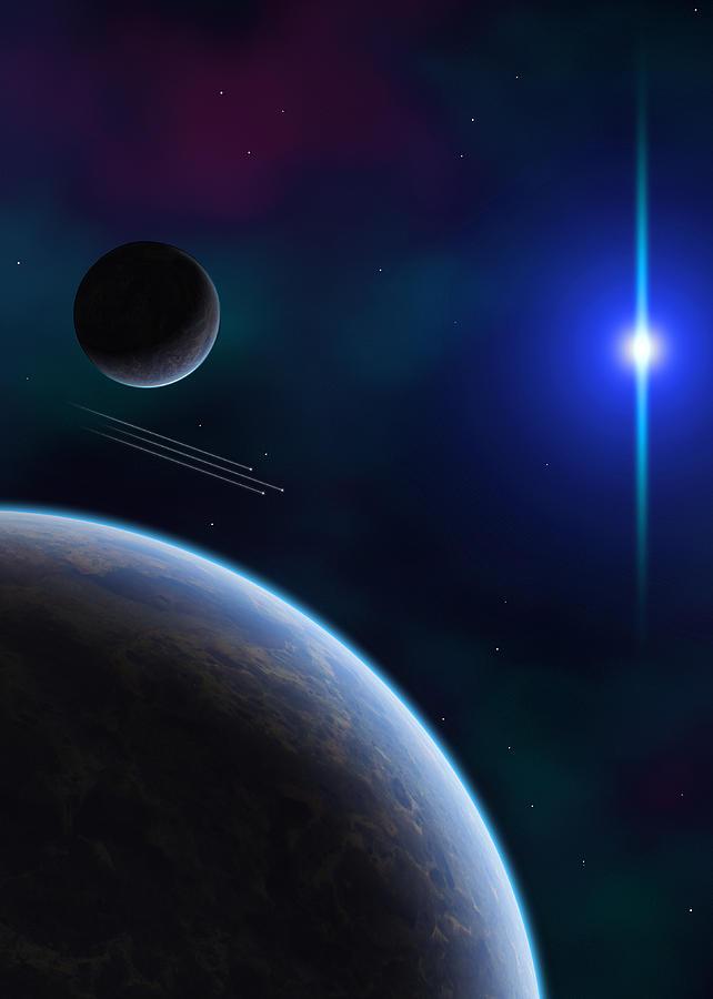 Space Digital Art - Shooting Stars by Visions Beyond