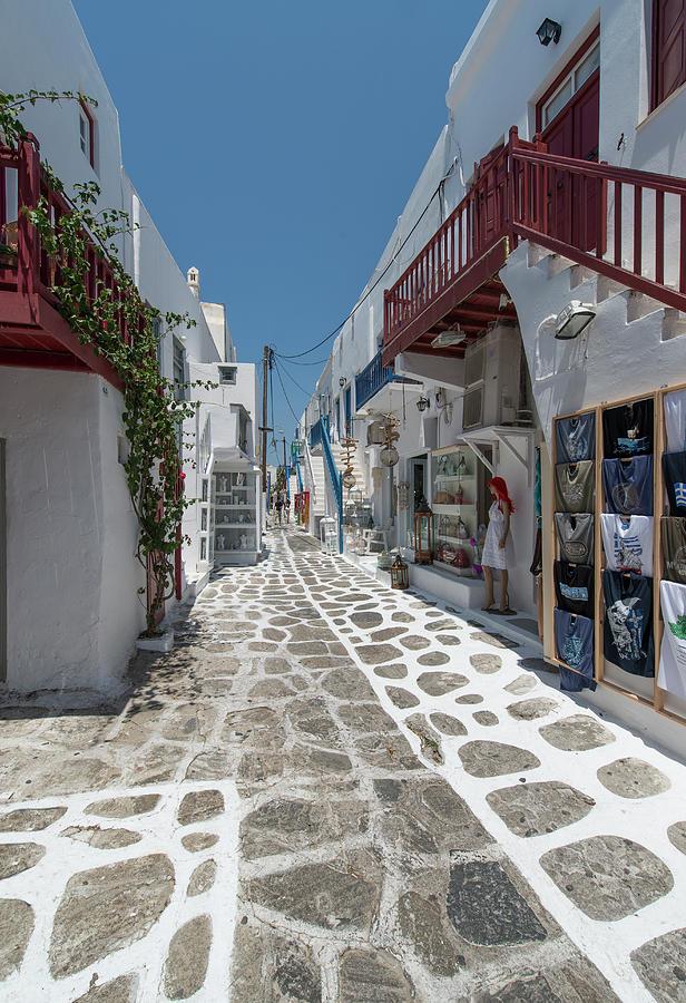 Shopping Street In Mykonos Photograph by Ed Freeman
