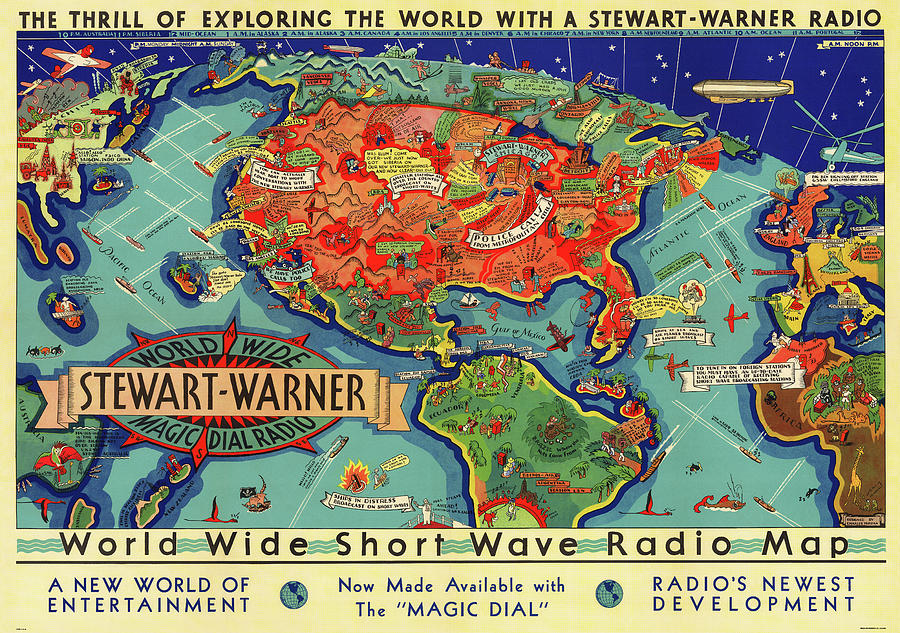 SHORT WAVE RADIO WORLD MAP 1932 by Daniel Hagerman