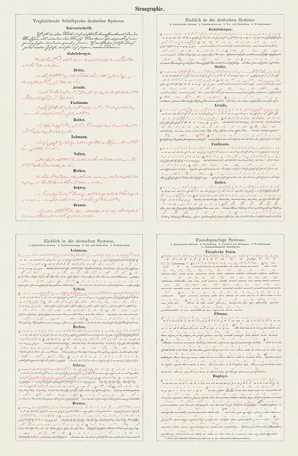 Shorthand German, Roman, English Digital Art by Zu 09