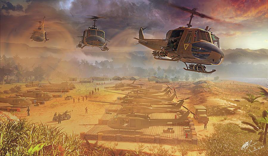 Uh-1 Digital Art - Shotgun Riders by Hangar B Productions