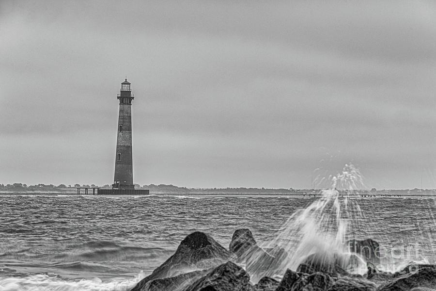 Shouthern Charleston Salty Shores - Morris Island Lighthouse Photograph