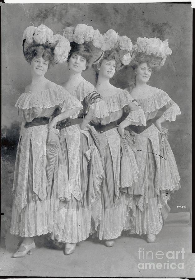 Showgirls Wearing Typical Stage Attire Photograph by Bettmann