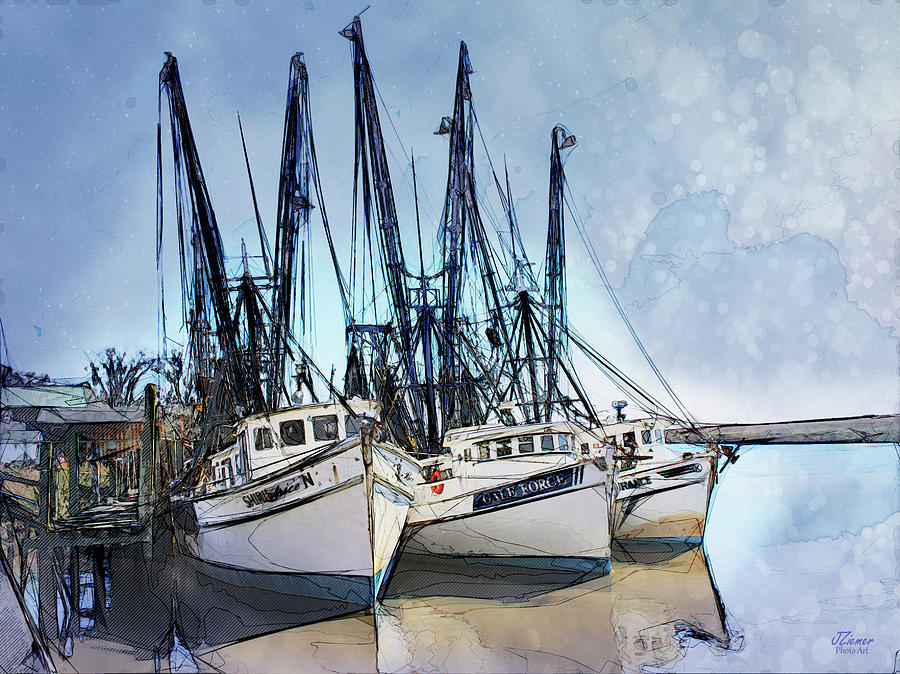 Boats Photograph - Shrimp Boats At Darien by Jim Ziemer