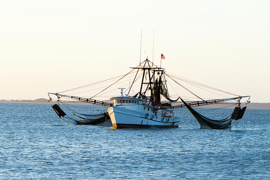 Shrimp Fishing Boat With Nets Out Photograph by Tshortell