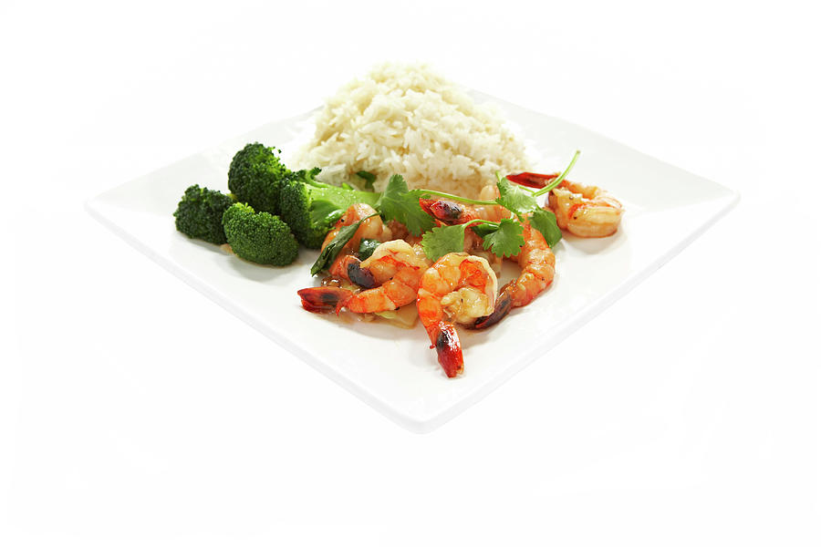 Shrimp Stir Fry On Plate On White Photograph by Thomas Northcut