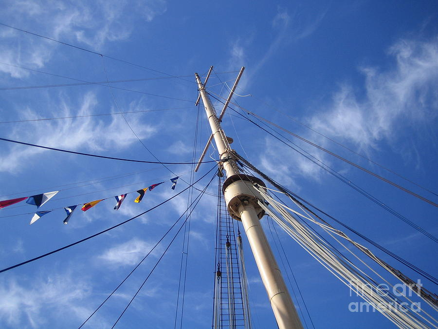 Shrouds in the Sky Sailing Boat Ship Cruising under the Blue Sky by John Shiron