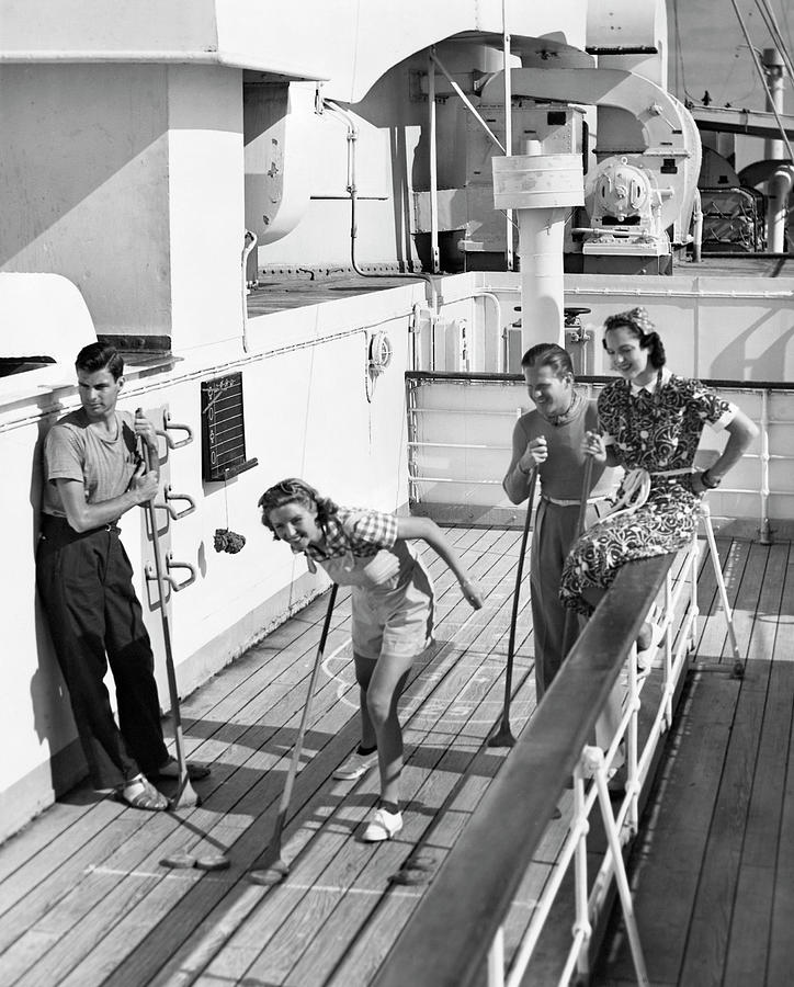 Shuffleboard Players Photograph by George Marks