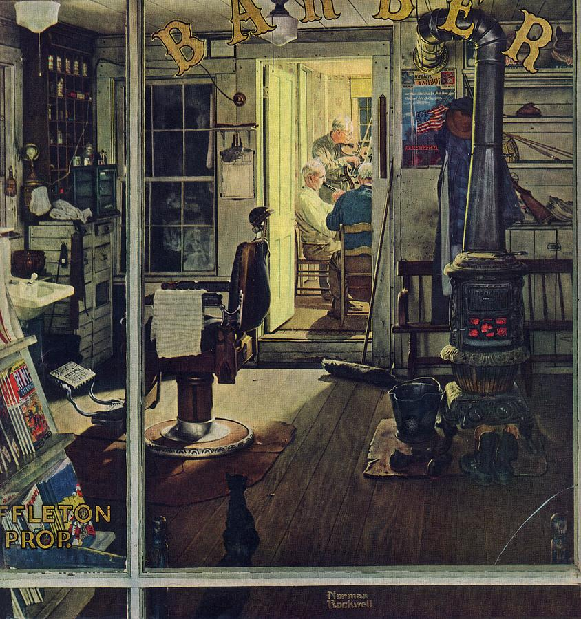 Barbers Drawing - Shuffletons Barbershop by Norman Rockwell