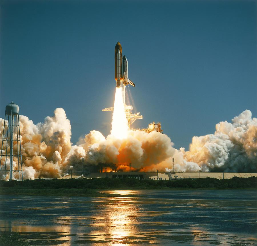 Shuttle Taking Off Photograph by Edward Slater