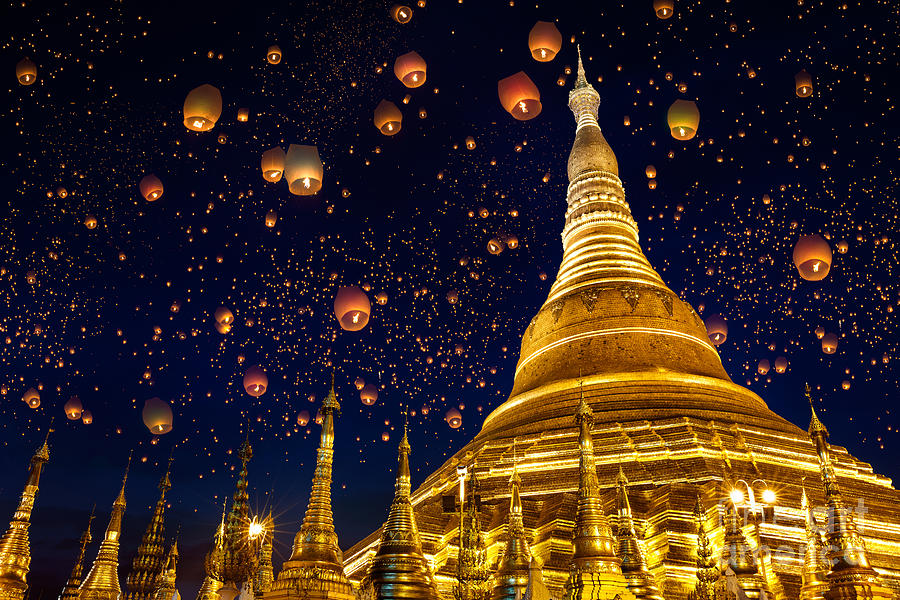 Religious Photograph - Shwedagon Pagoda With Larntern In The by Krunja