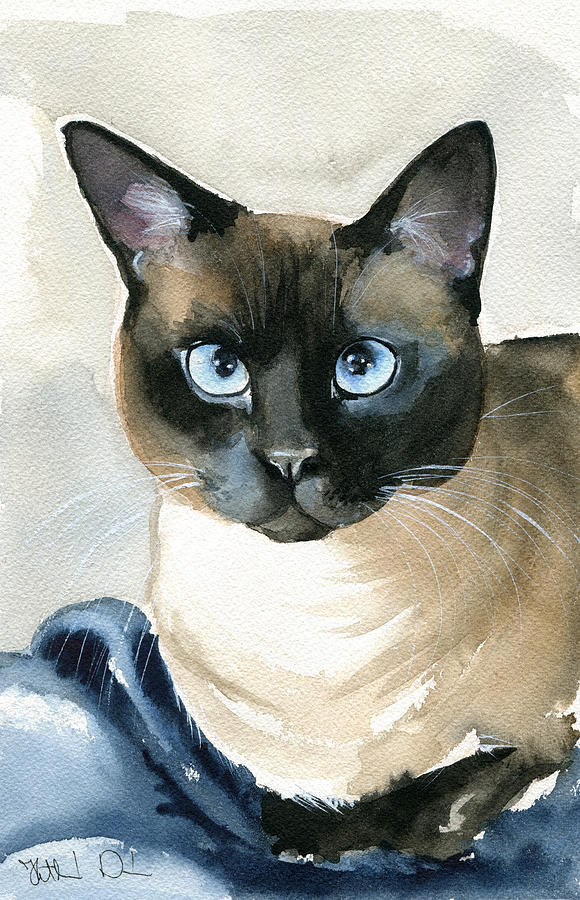 Siamese Cat Painting by Dora Hathazi Mendes