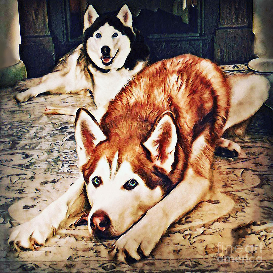 Siberian Huskies at Rest A22119 by Mas Art Studio