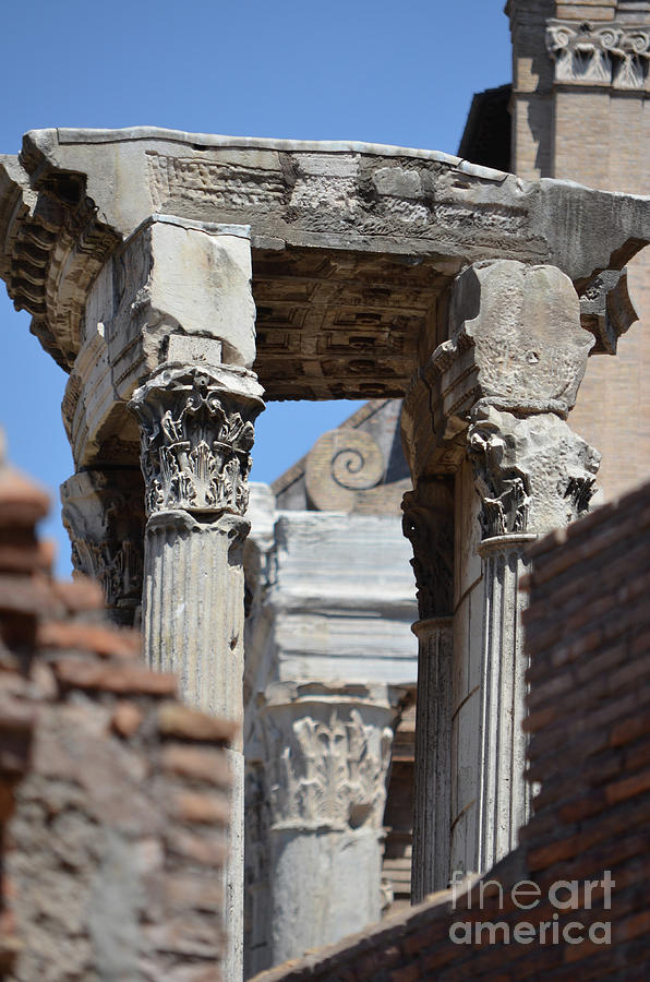 Side Profile View Of The Temple Of Vesta Roman Forum Rome Italy by Shawn  O'Brien