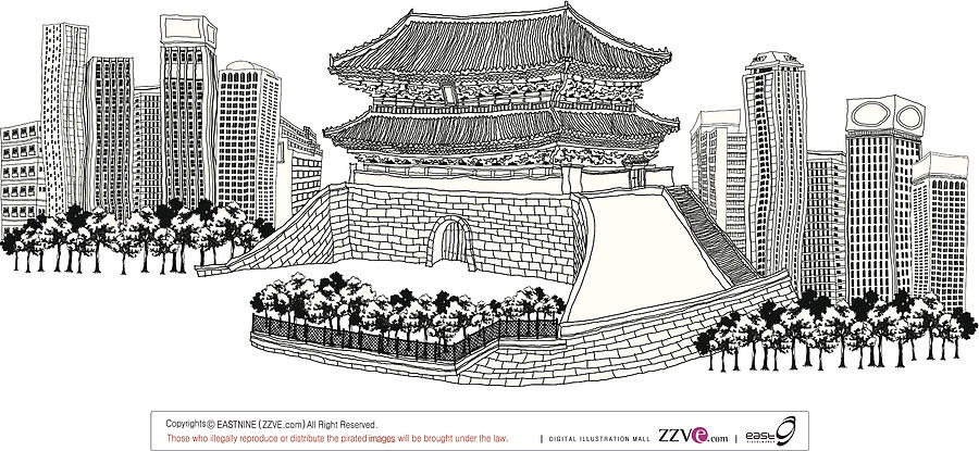 Side View Of Pagoda And Trees Digital Art by Eastnine Inc.