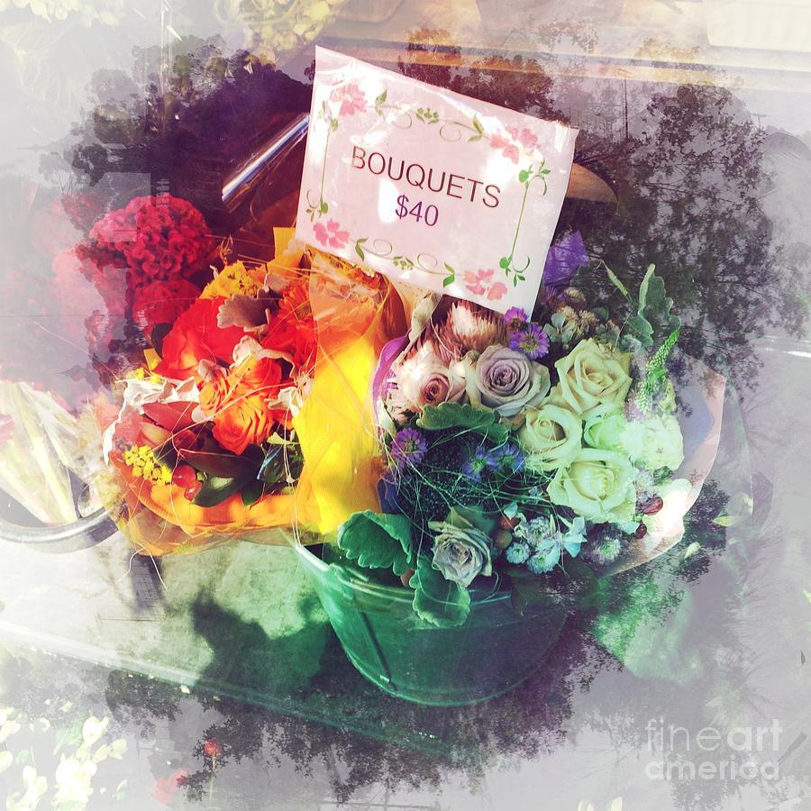 Bouquet Photograph - Sidewalk Bouquet - Flowers On A Sunny Day by Miriam Danar