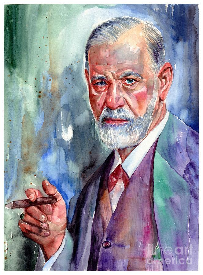 Sigmund Freud Painting - Sigmund Freud Portrait II by Suzann Sines