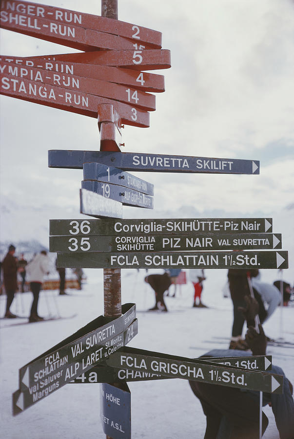 Signpost In St. Moritz Photograph by Slim Aarons
