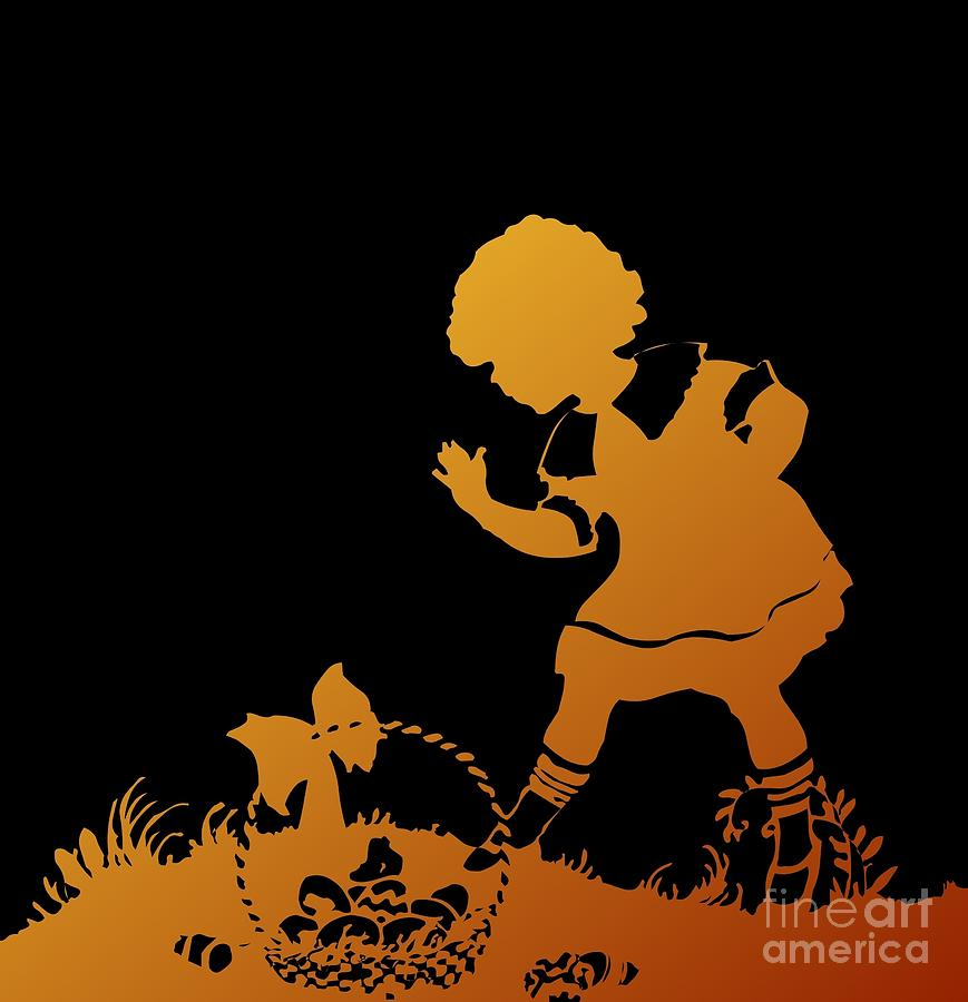Silhouette Girl and Easter Basket Gold on Black by Rose Santuci-Sofranko
