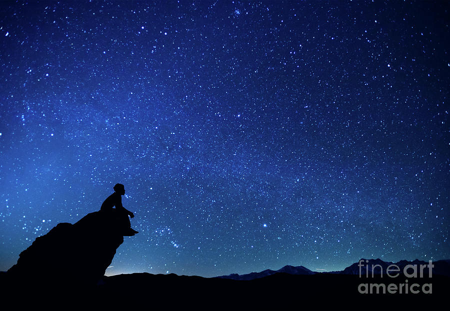 Silhouette Man Sitting On Rock Photograph by Stijn Dijkstra / Eyeem