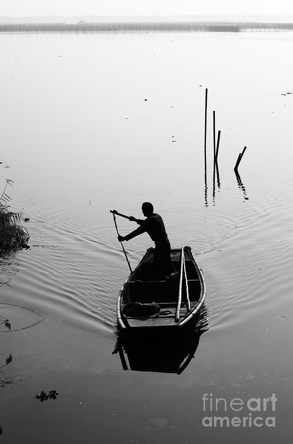 Boatman Photograph - Silhouette Of A Boatman Rowing A by Gwoeii