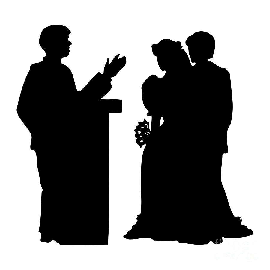 Silhouette of a Couple Getting Married by Rose Santuci-Sofranko