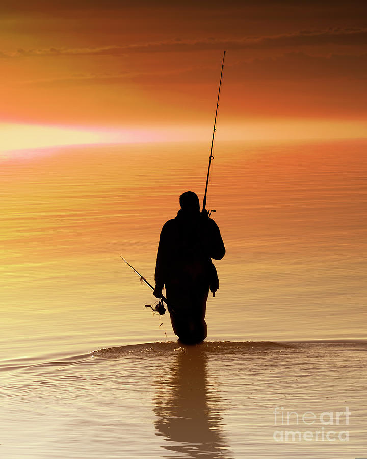 Silhouette Of A Fisherman At Sunrise Photograph by Vicki Jauron, Babylon And Beyond Photography