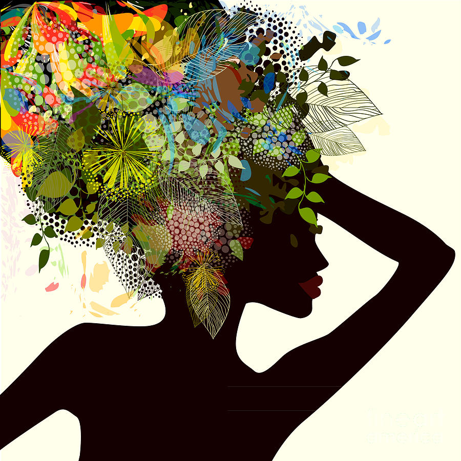 Fancy Digital Art - Silhouette Of A Girl With Flowers by Ihnatovich Maryia