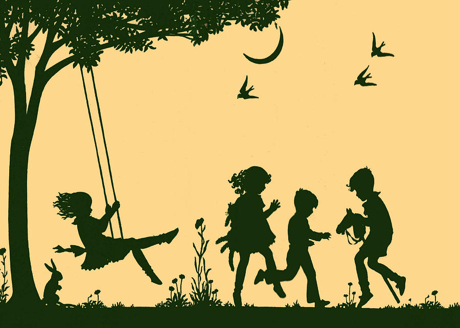 Silhouette of Children at Play Drawing by Audrey Drake