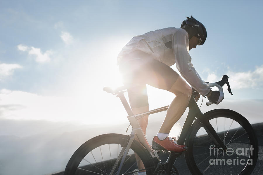Silhouette Of Cyclist Riding Up In High Photograph by Stanislaw Pytel