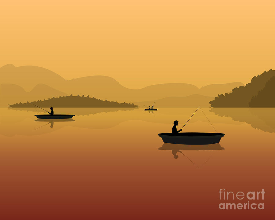 Forest Digital Art - Silhouette Of Fishermen In A Boat With by S veresk