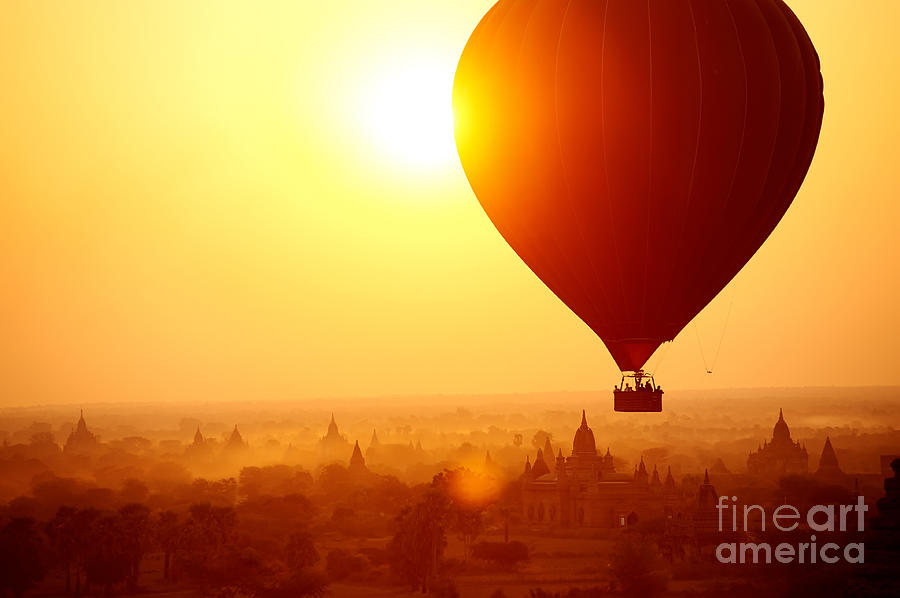 Dusk Photograph - Silhouette Of Hot Air Balloon Over by Daxiao Productions