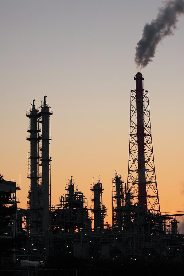 Silhouette Of Petrochemical Plant Photograph by Hiro/amanaimagesrf