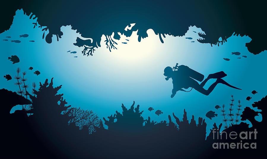 Deep Digital Art - Silhouette Of Scuba Diver And Coral by Natali Snailcat