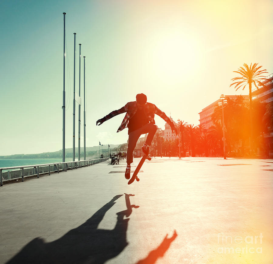 Heat Photograph - Silhouette Of Skateboarder Jumping In by Maxim Blinkov