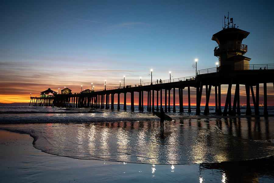 Horizontal Photograph - Silhouette Of Surfer At Huntington by Panoramic Images