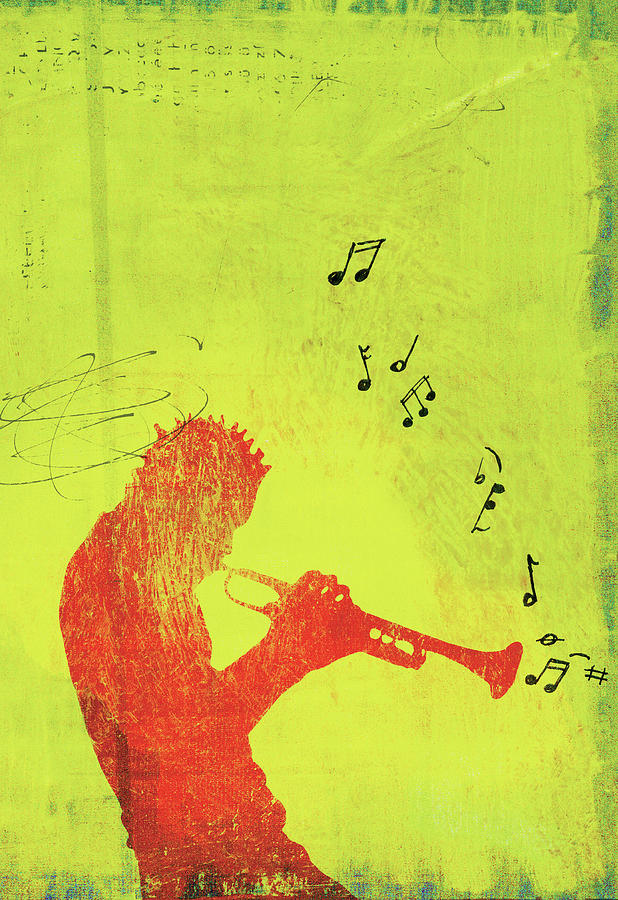Silhouette Of Trumpet Player Digital Art by Darren Hopes
