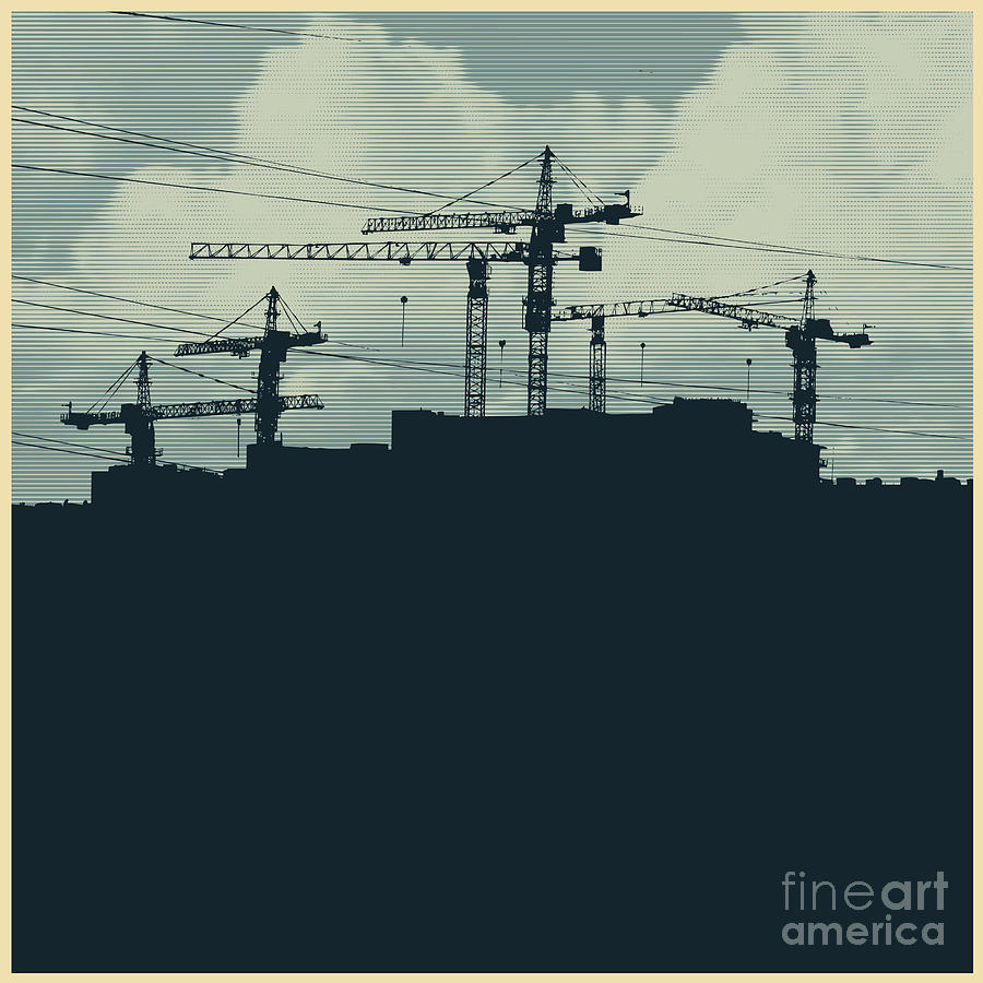 Building Digital Art - Silhouette With A Cranes And by Jumpingsack