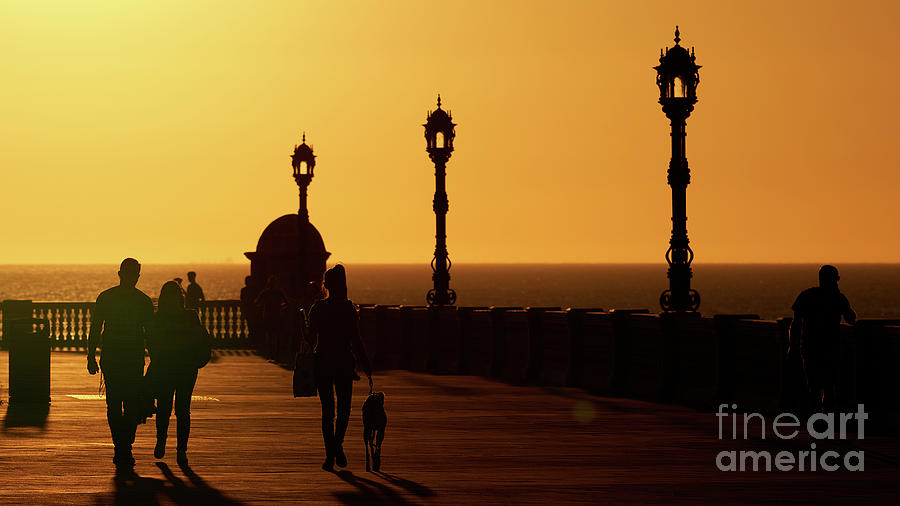 Silhouetted Couple and Girl Walking the Dog during Sunset by Pablo Avanzini