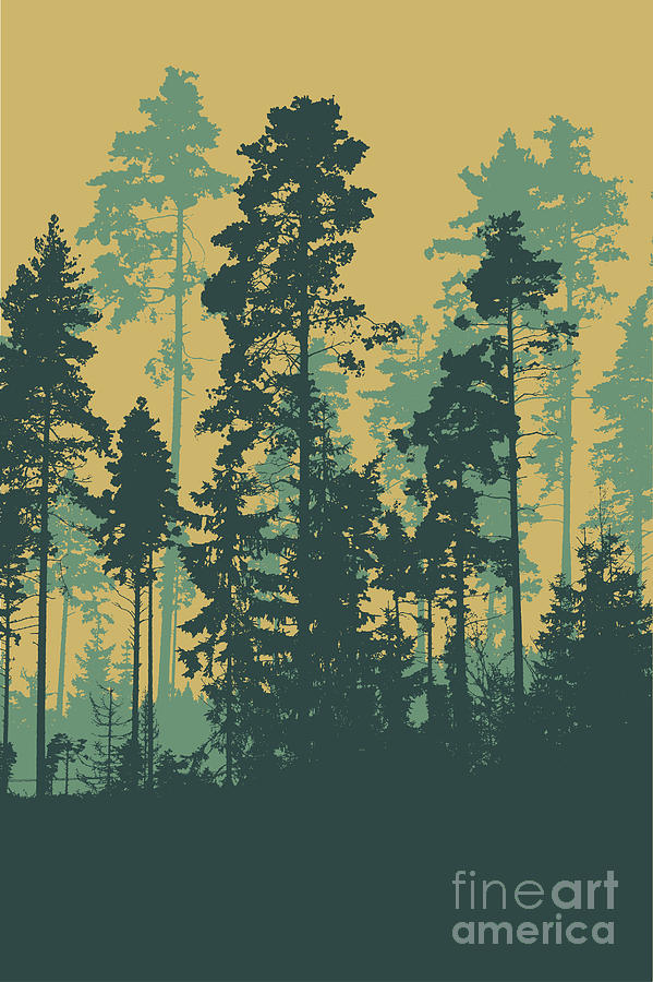 Big Digital Art - Silhouettes Of Coniferous Forest by Jumpingsack