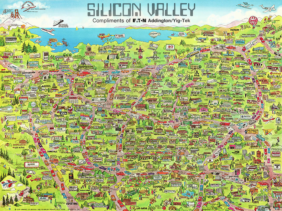 SILICON VALLEY GOLD RUSH MAP 1983 by Daniel Hagerman