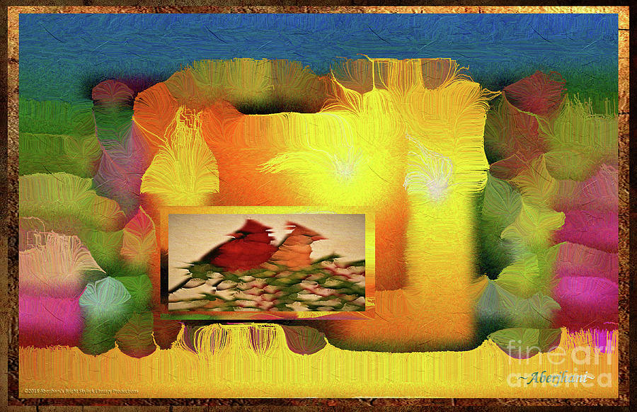 Aesthetics Digital Art - Silk-Featherbrush Number 2 - Two Redbirds of a Feather Cozy Together  by Aberjhani