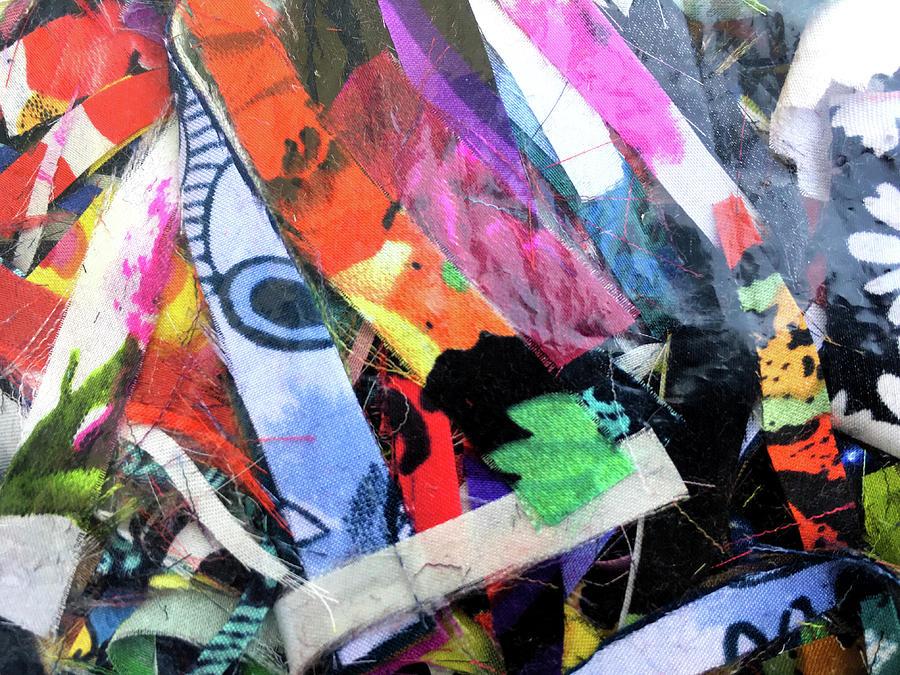 Silk Scraps Collage by Anne Thurston