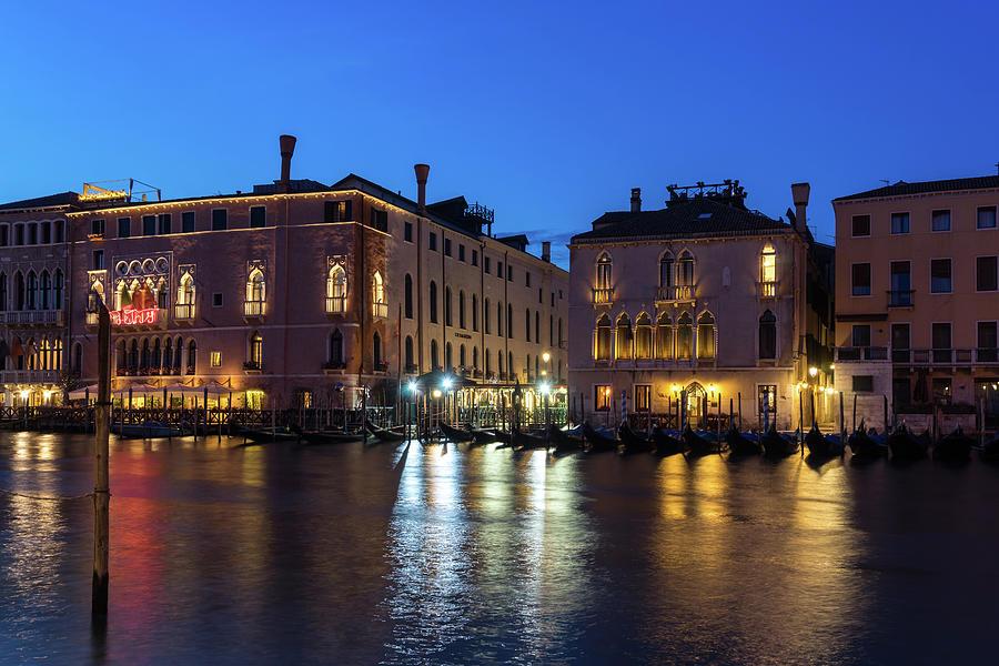 Silky Nightfall on the Grand Canal - Canalazzo Venice Italy by Georgia Mizuleva