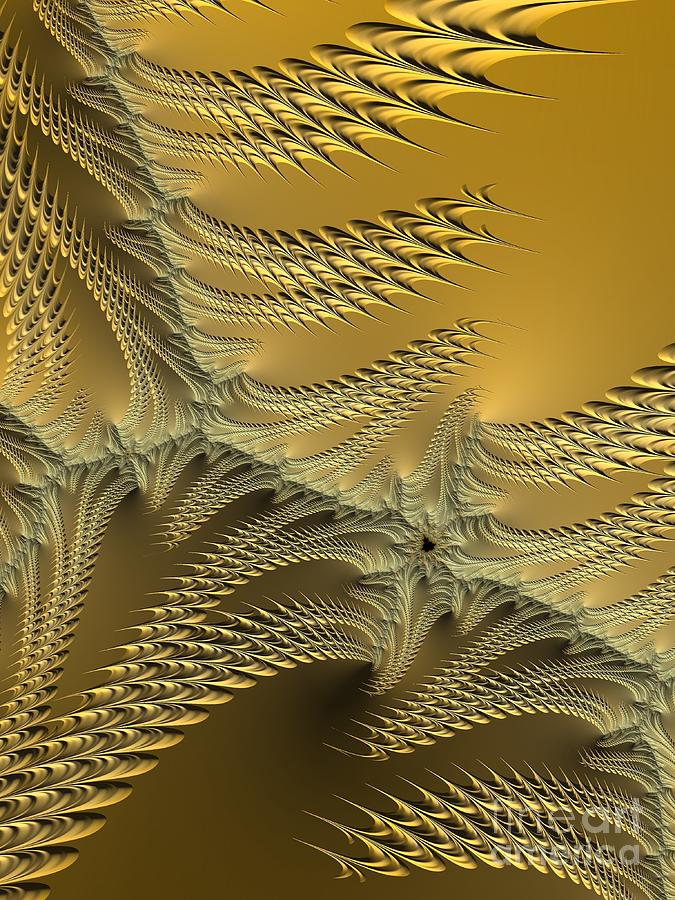 Silver and Gold Sunshine on the Beach Fractal Abstract by Rose Santuci-Sofranko