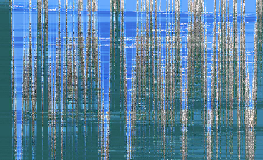Silver Blue Plaid Abstract #2 by Patti Deters
