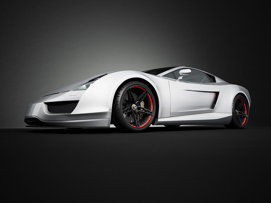 Silver Sport Car On Black Studio Photograph by Firstsignal