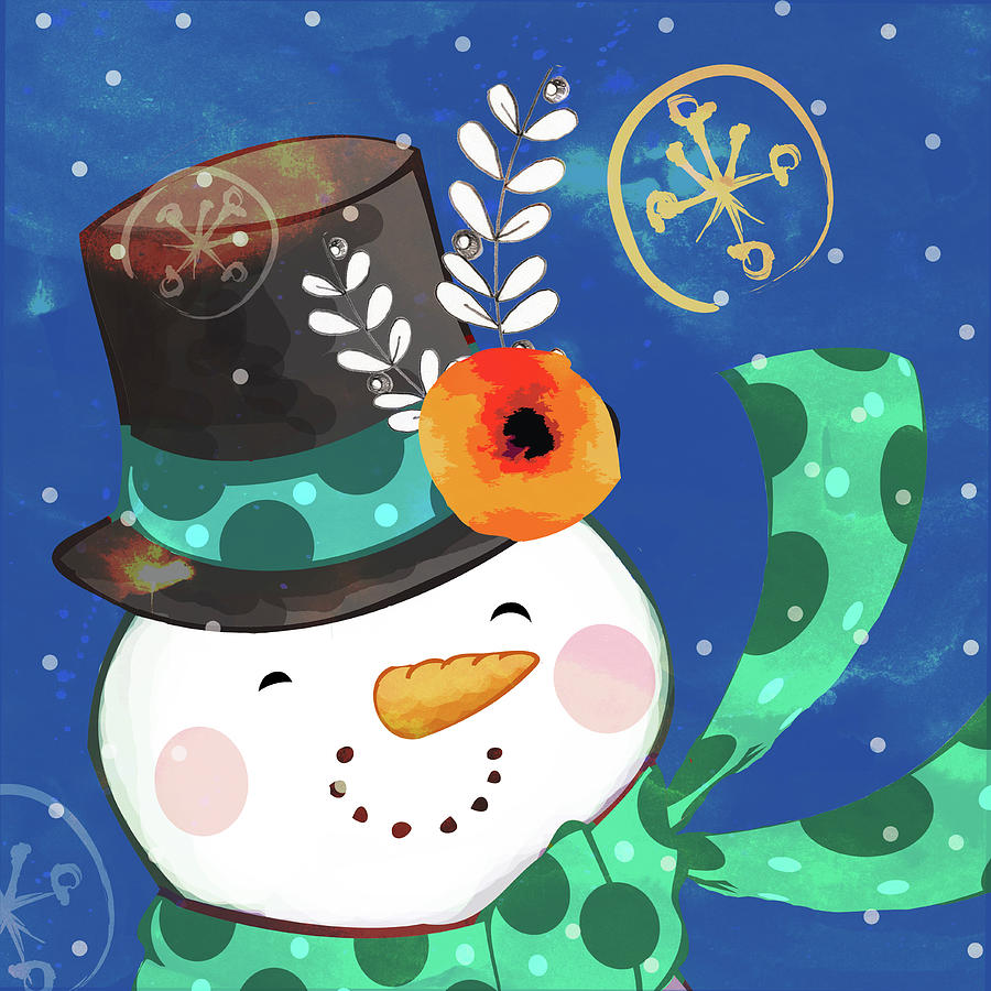 Snowman Painting - Silver Topper by Valarie Wade