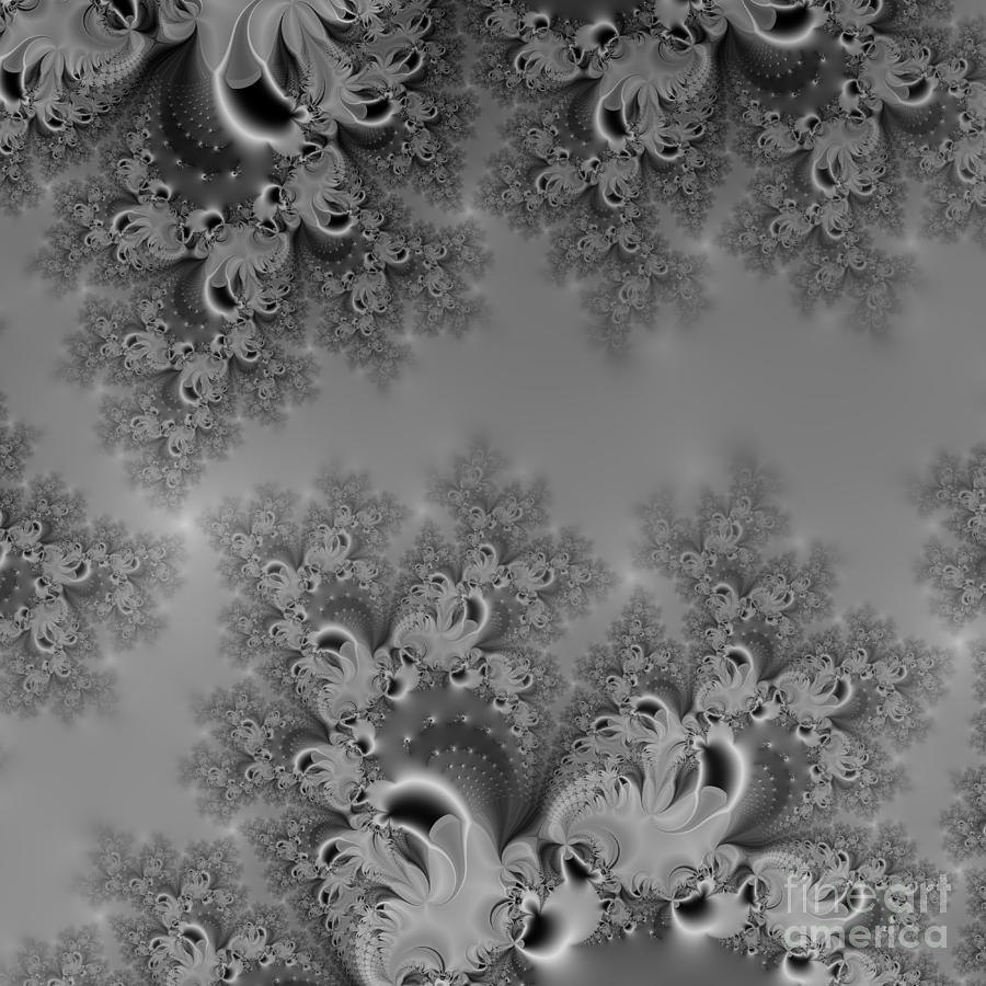 Silvery Moon Frost Fractal Abstract by Rose Santuci-Sofranko